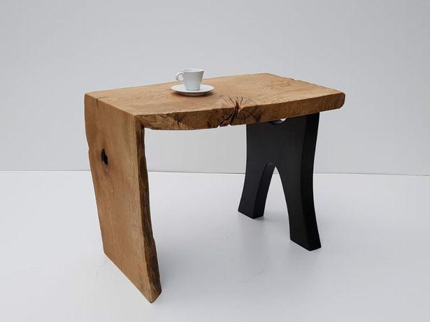 DZIEŁO! Stolik kawowy handmade rzemieślniczy dębowy