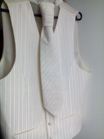 Kamizelka ślubna + krawat + ozdobna chusteczka - poszetka, ecru, r. 50