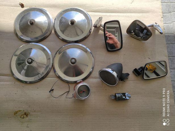Diverdo material antigo (Tampões e espelhos relógio 6V)