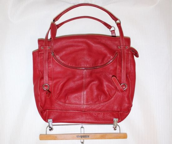 Большая сумка шоппер красная кожа Furla Италия
