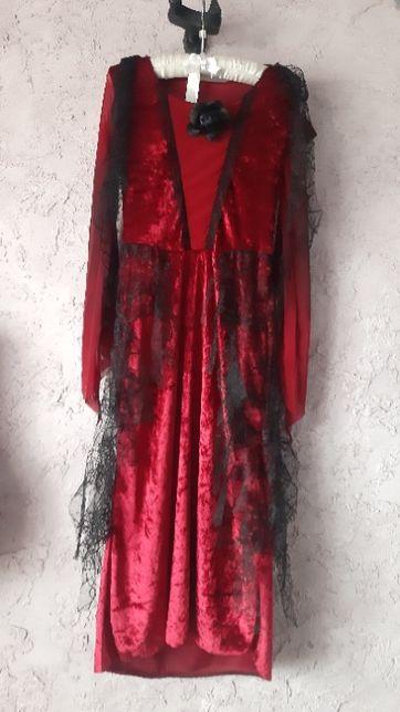 платье ведьма королева 7-8 лет 122-128 рост бархат утренник хэлоуин