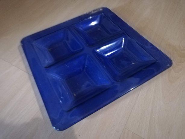 Блюдо-менажница 30х30 см стекло синяя