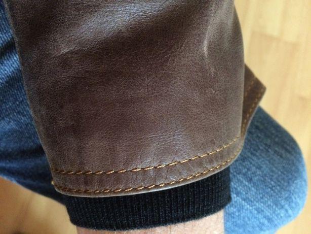Skórzana męska kurtka marynarka brązowa skóra naturalna jasne szwy