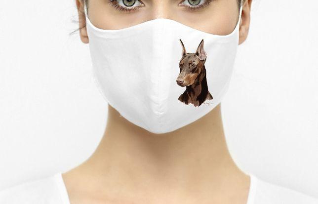Maska maseczka ochronna biała pies doberman