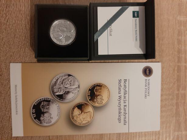 10zł moneta Beatyfikacja kardynała Stefana Wyszyńskiego Srebro