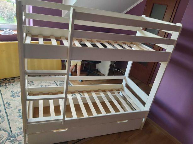 łóżko piętrowe białe z szufladą na pościel