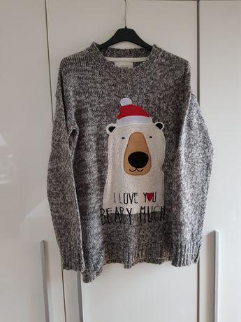 Szary świąteczny sweter z misiem HOUSE