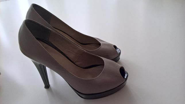 Buty skórzane r.35 na obcasie na platformie brązowe kakaowe