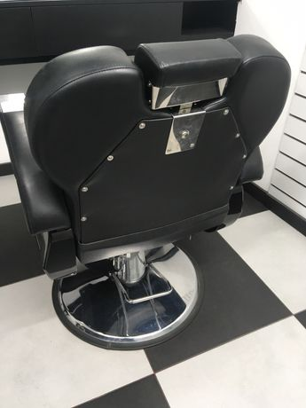 Cadeira de barbeiro reclinável com bancada em madeira maciça