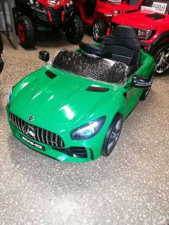 Samochód na akumulator Mercedes GTR zielony koła Eva, miękki fotelik