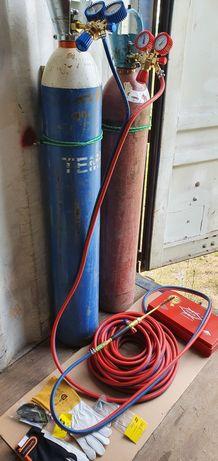 Zestaw do spawania i cięcia gazowego, tlen i acetylen, palnik