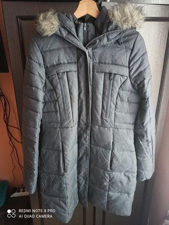 Zimowa siwa kurtka/płaszczyk