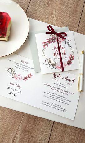 Zaproszenie ślubne bordowe 2020