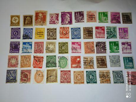 Stare znaczki pocztowe Niemieckie. Zestaw 50 szt. Starocie. Okupacja.