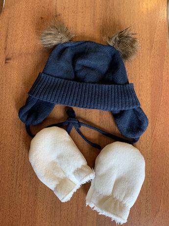 Шапка осень/зима для новорожденного на 0-2 месяца
