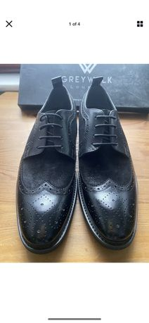 GREYWALK London Hand Made Leather& Suede Men's Shoes Size 41