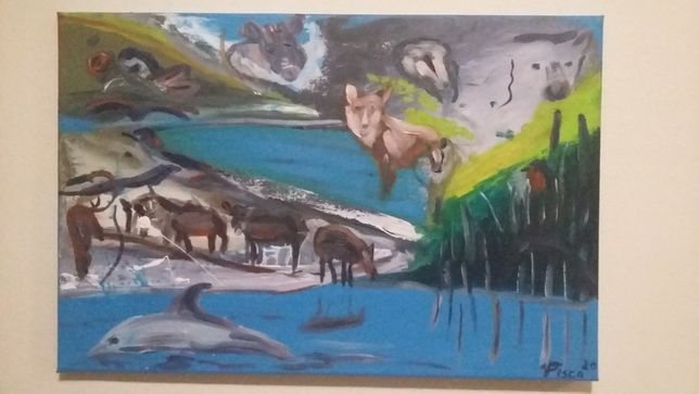 Arrábida, Mar e Serra, 40x60 cm, técnica mista sobre tela.