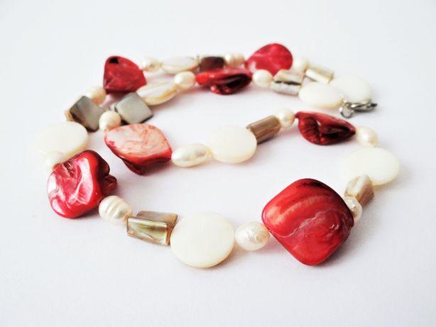 Naszyjnik z masy perłowej - krem, beż i czerwony - stan bdb