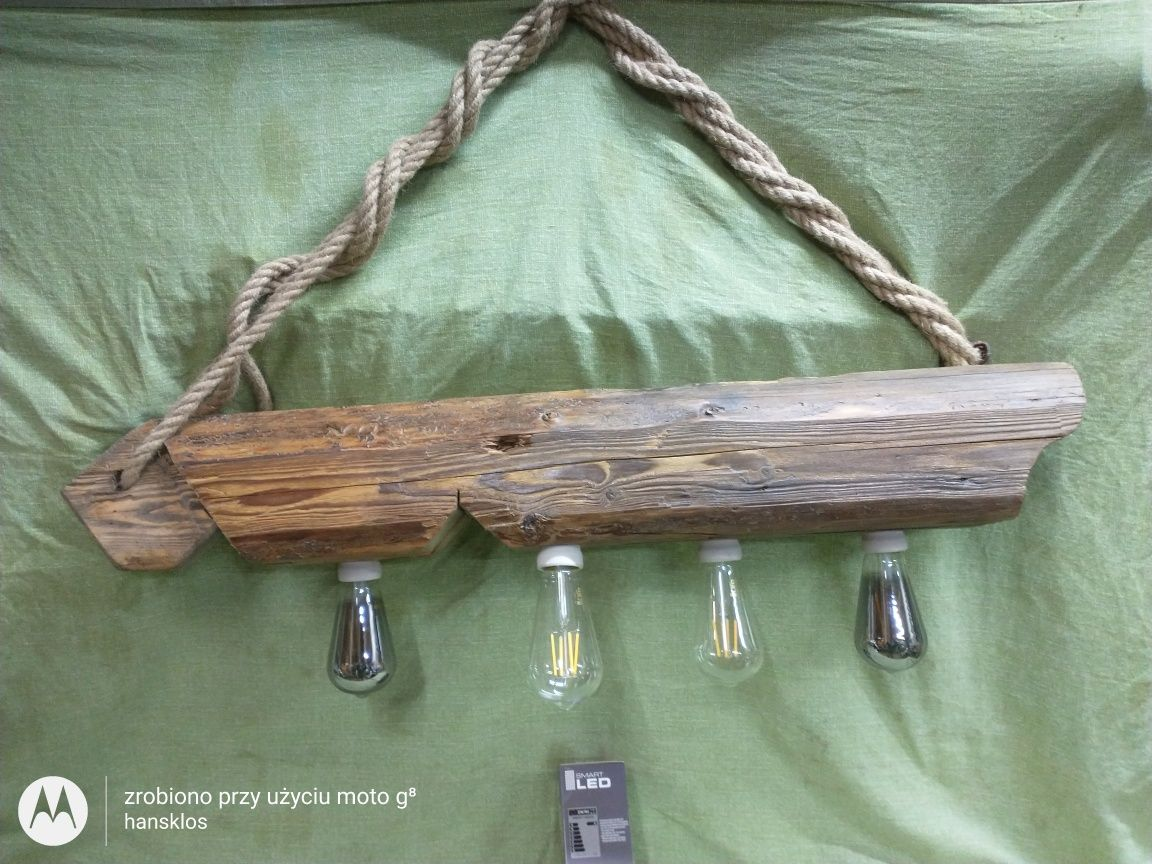 Lampa drewniana wisząca belka loft vintage różne wzory retro + żarówki