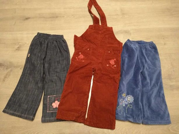 3 pary ocieplanych spodni zimowych na 98cm