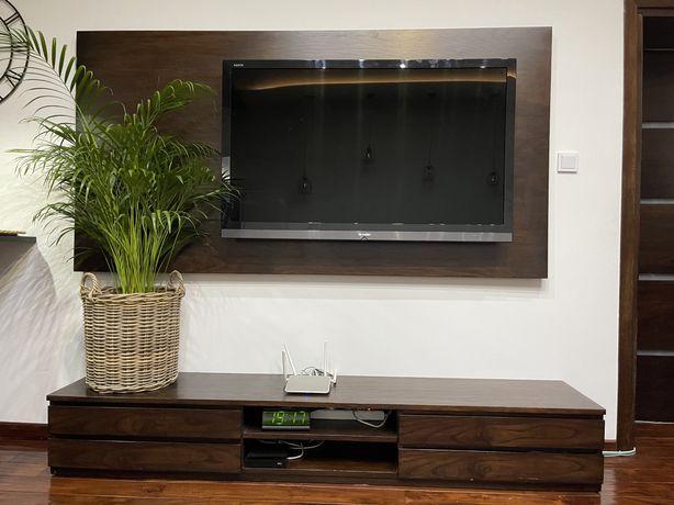 Dębowy panel za TV, dębowa szafka RTV