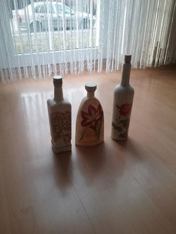 Sprzedam - Tanio 3 butelki ozdobne malowane ręcznie + dzbanek