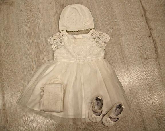 Ubranka na chrzest chrzciny dla dziewczynki zestaw Smyk 74/80 6m