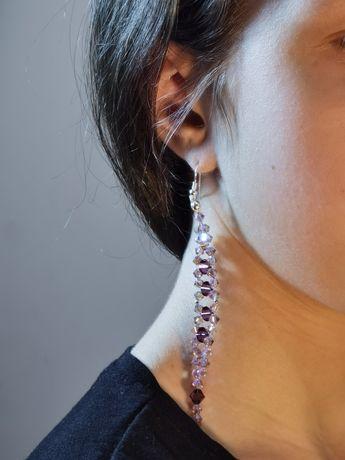 Kolczyki srebrne, Swarovski crystals,