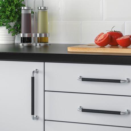 Puxador BJÄRRED IKEA aço inoxidável e pele - cozinha / armário