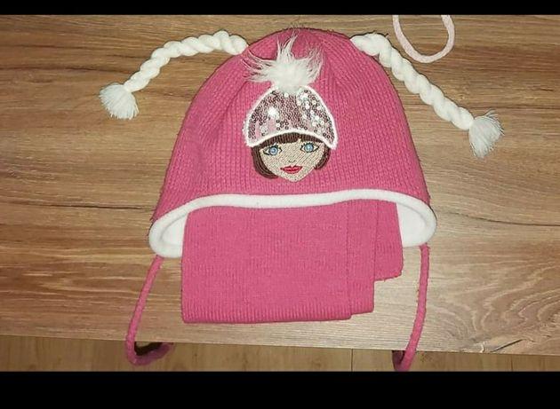 Komplet czapka szal zimowe dla dziewczynki  rozm 46-48