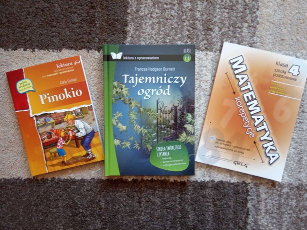 Książki PINOKIO ,TAJEMNICZY OGRÓD lektury kl.4, Repetytorium mat kl.4