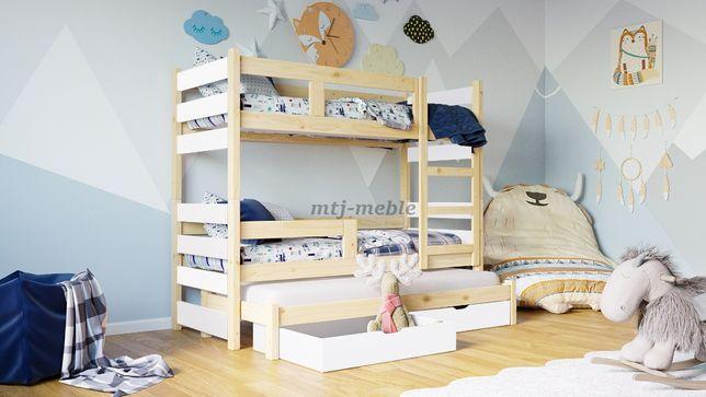Sosnowe łóżko piętrowe TOSIA trzyosobowe z materacami!