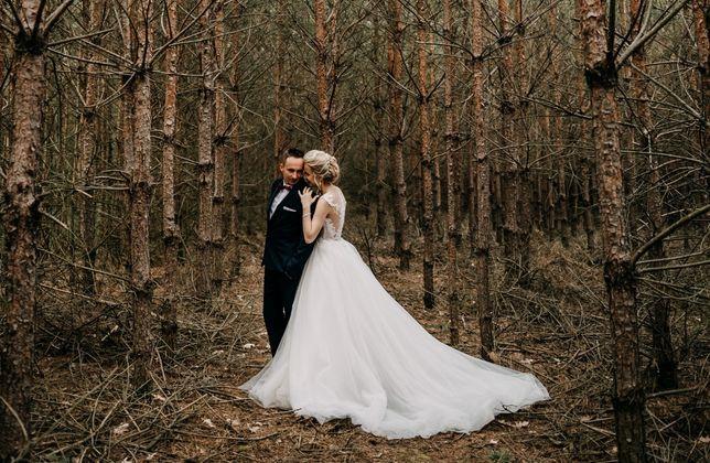Przepiękna Suknia Ślubna z odpinanym trenem.