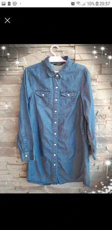 Sukienka koszula miekki jeans 146