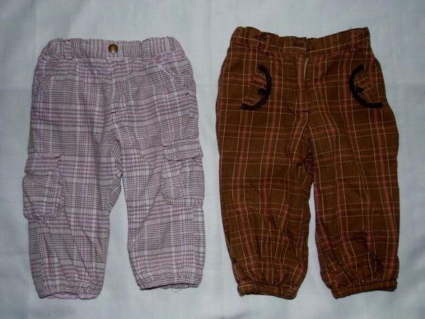 OCIEPLANE Spodnie 80 H&M Podszewka Kratka Brązowe Różowe Zestaw 2 szt