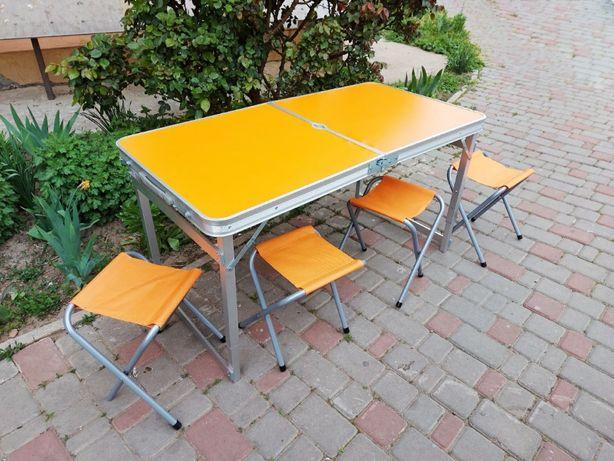 Стол для пикника усиленный оранжевый (есть все цвета) и 4 стула + зонт
