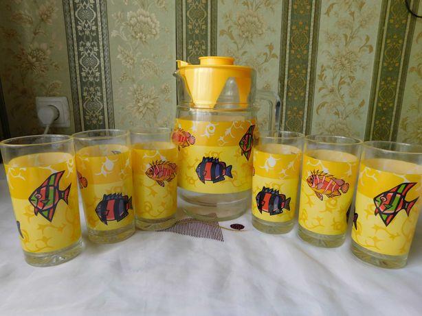 Набор питьевой для напитков. Кувшин и 6 стаканов