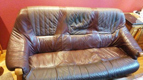 Komplet mebli skórzanych kanapa + 2 fotele skóra