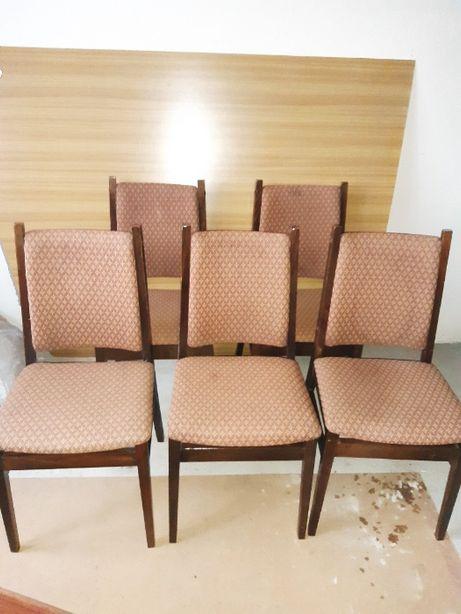Krzesła 5 sztuk drewniane obiciowe do renowacji