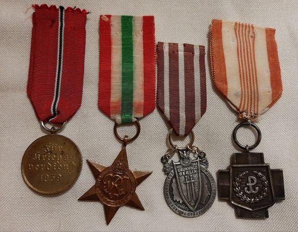 Cztery medale-odznaczenia Niemcy, Anglia i Polska