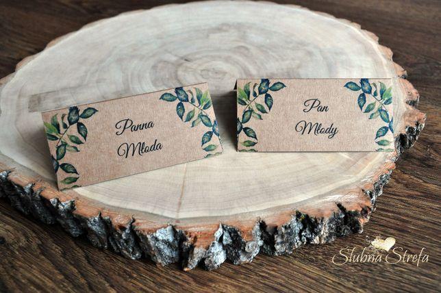 Winietki eko listki winietki na ślub wesele winietka wizytówka