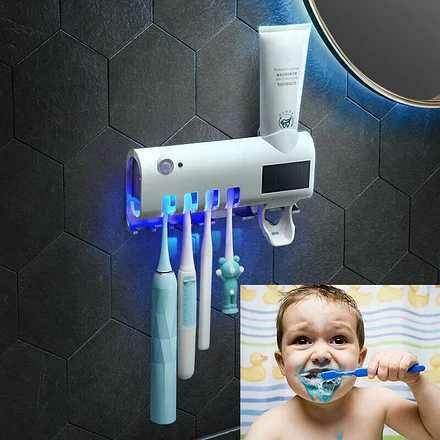 диспенсер для зубной пасты и щеток с УФ-стерилизатором