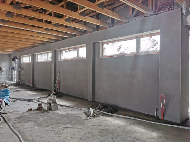 Tynki maszynowe cementowo-wapienne, gipsowe wykończenia wnętrz itp