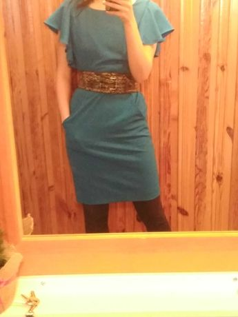 Sukienka Calvin Klein rozmiar S turkusowa stan idealny + pasek