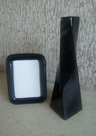 Czarna ceramika - komplet: wazon i ramka na zdjęcie/super stan