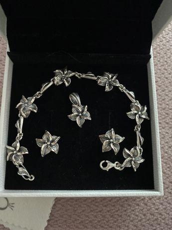 Komplet biżuterii stebrnej zawieszka kolczyki i bransoletka