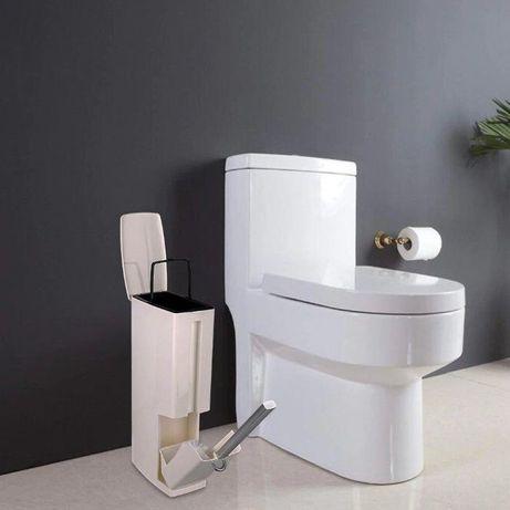 Стильное белое мусорное ведро 3 л с подставкой для туалетного ершика