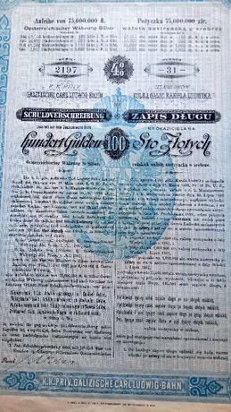 XIX wiek, stary dokument, 100 złotych 1890r
