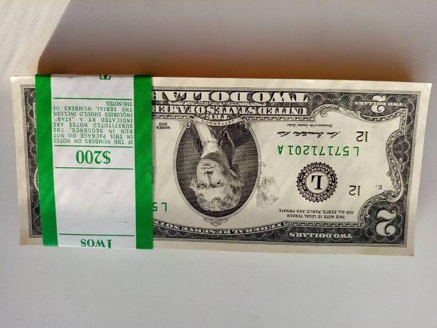 Новые банкноты в 2 доллара США. В пачке 100шт