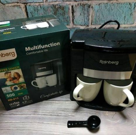 Крутая Капельная на две чашки Rainberg 500Вт Кофеварка, кофе